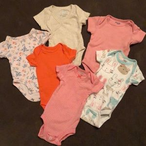 Baby girl short sleeve onesie set of 6